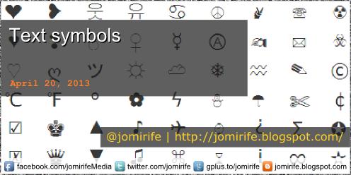Blog Post: Text symbols