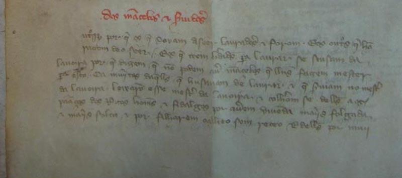 Lei das Sesmarias, folha 3 pormenor do item dos Ma
