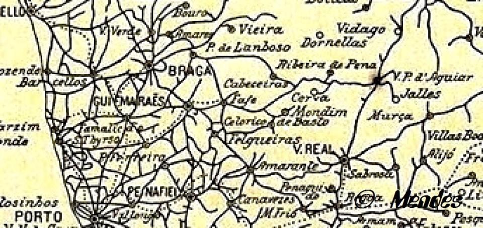 Cerva - Excerto de Mapa das Estradas Macadamizadas -1907