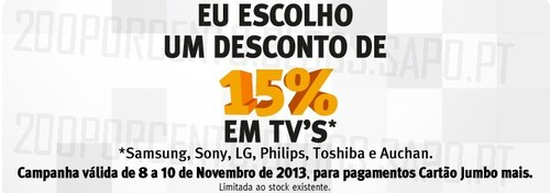 15% desconto em TV | BOX / JUMBO | de 8 novembro a 10 novembro