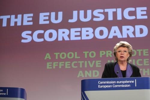 Viviane Reding na apresentação do EU Justice Scorboard