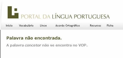 Portal da Língua, «Concetor» -- Palavra não encontrada