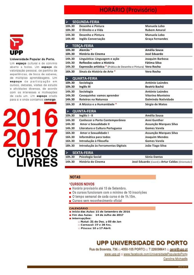 UPP Horário 2016-2017