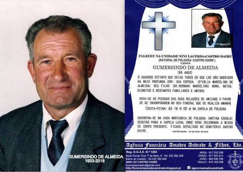 FOTO RIP DE GUMERSINDO DE ALMEIDA-84 ANOS (FOLGOSA