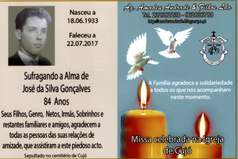 CARTÃO DE AGRADECIMENTO-JOSÉ DA SILVA GONÇALVES