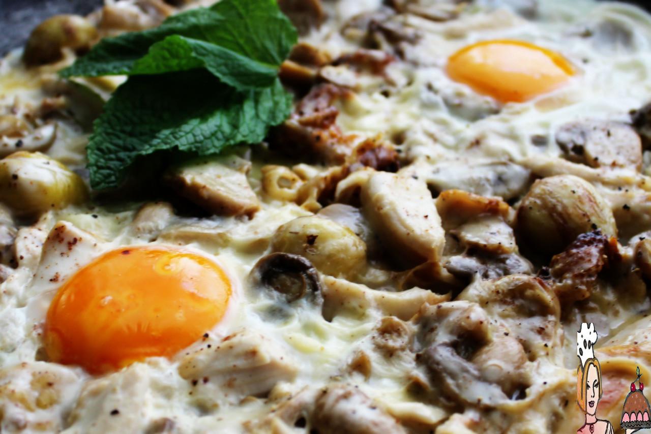 Frigideira de frango com cogumelos