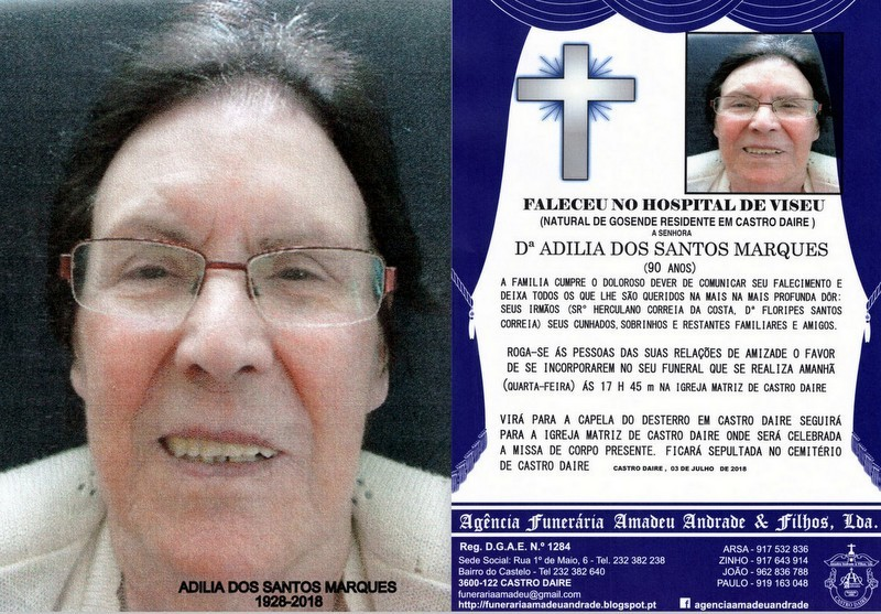 FOTO RIP DE ADILIA DOS SANTOS MARQUES-90 ANOS (CAS