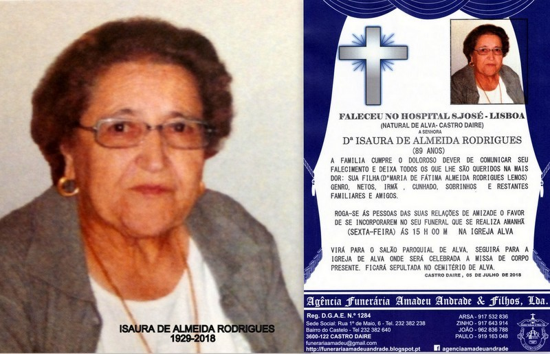 FOTO RIP-DE ISAURA DE ALMEIDA RODRIGUES -89 ANOS (