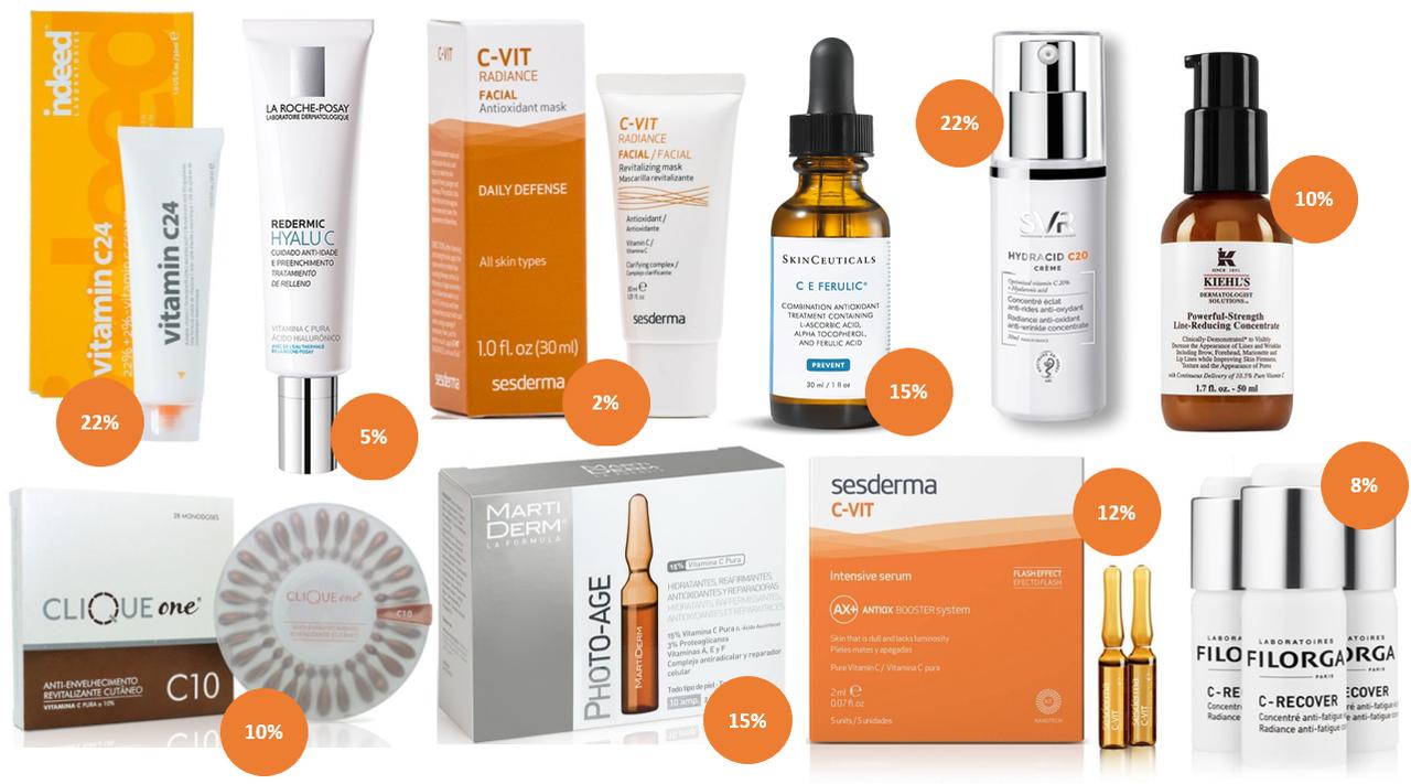 produtos vitamina c rosto cosmeticos cremes ampola