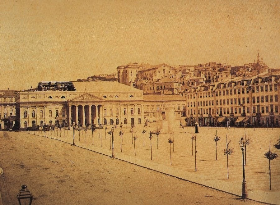 Rossio, 1862, foto de Wenceslau Cifka. Coll. Lisbo