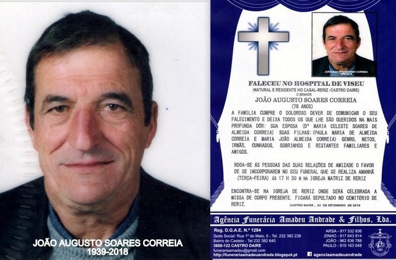 RIP E FOTO -JOÃO AUGUSTO SOARES CORREIA  -78 ANOS