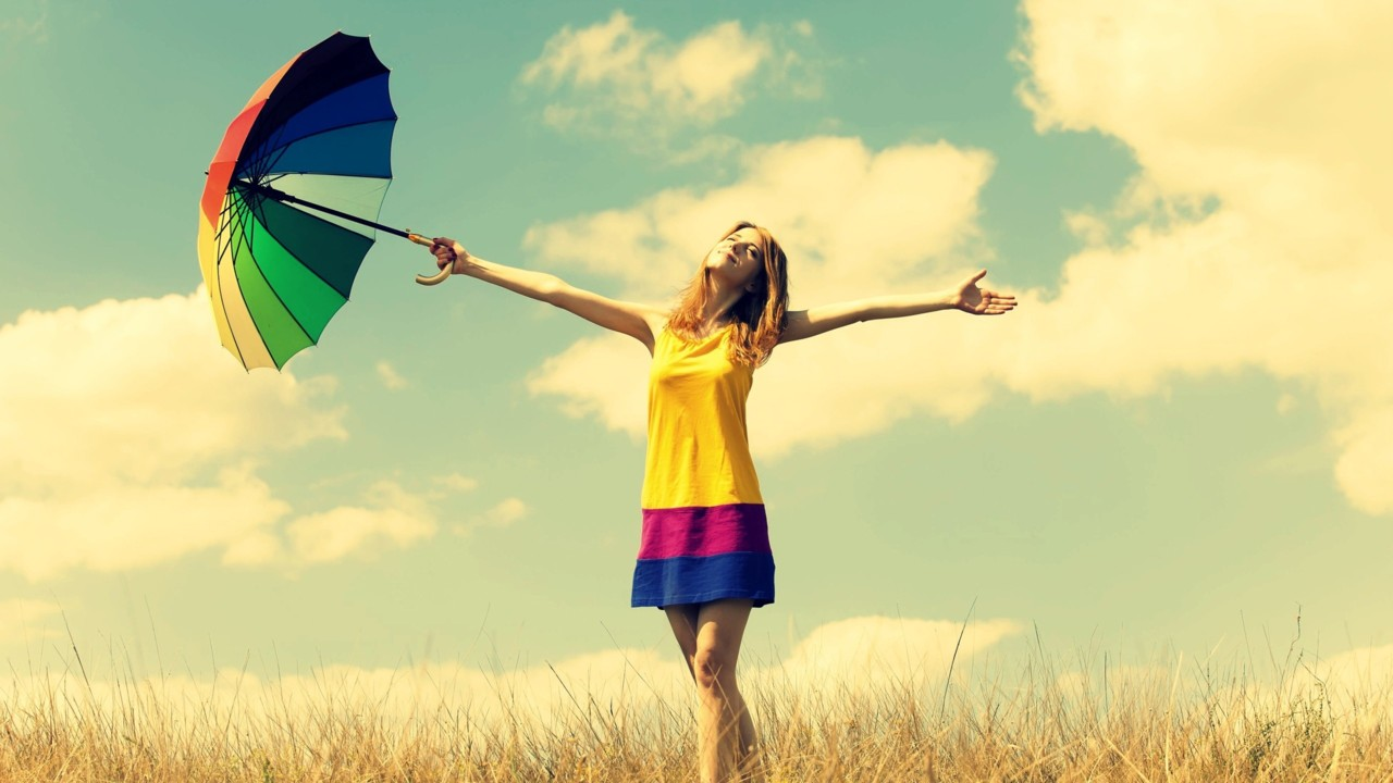 Happiness-girl-rainbow-umbrella-warmth-nature-sky-