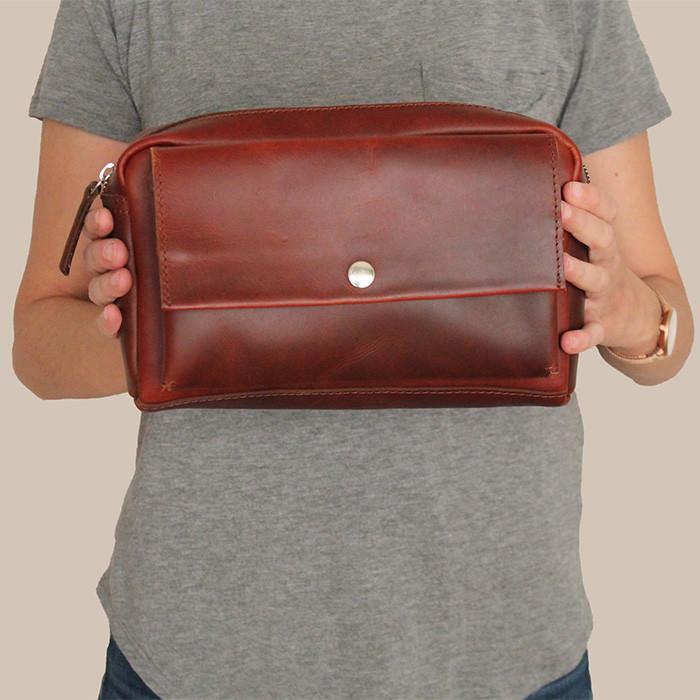 bolsa de cintura couro