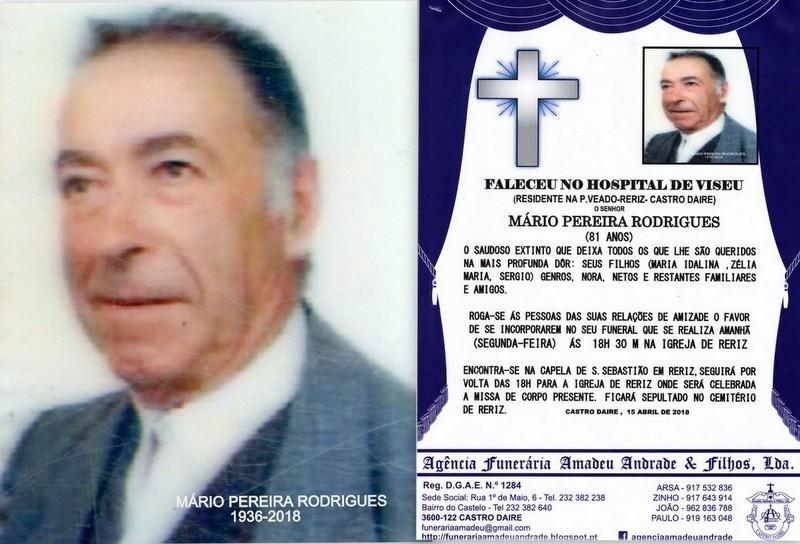 RIP-FOTO -MÁRIO PEREIRA RODRIGUES-81 ANOS (P.VEAD