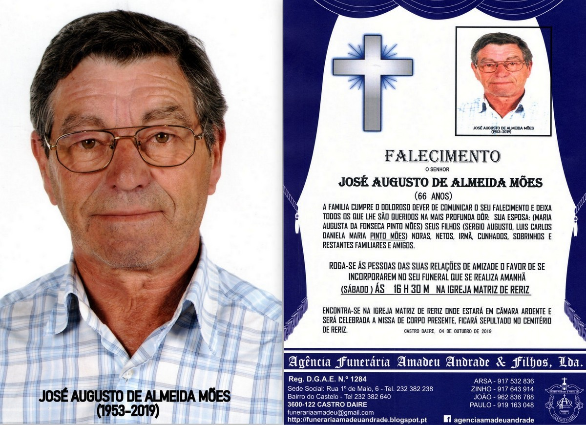 FOTO RIP  DE JOSÉ AUGUSTO DE ALMEIDA MÕES-66 ANO