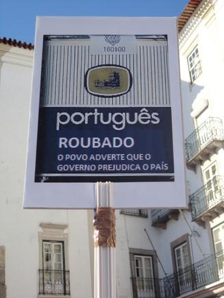 Manif 15/9 Português roubado, em Évora