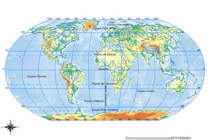 Mapa ou Planisfério - Representa toda a superfície da terra ou ...