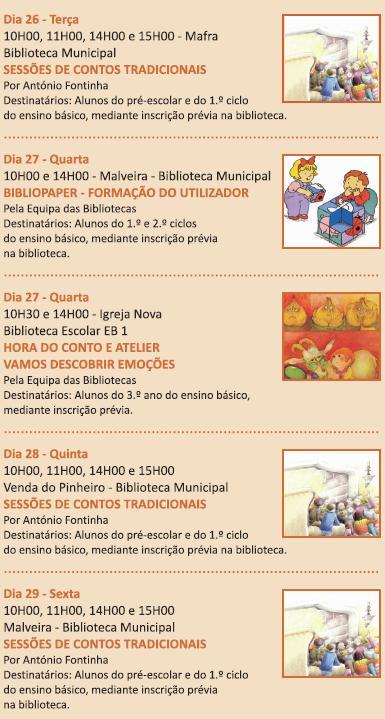 Bibliotecas Escolares - Agenda Outubro