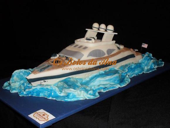 Bolo artistico lancha de luxo iate barco