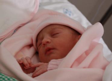 A pequena Violeta no dia em que nasceu...