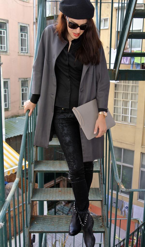 bf11b8cac56 Preto pincelado de cinzento - mini-saia