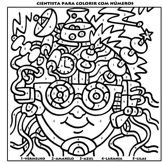 cientista para colorir com numeros desenhos para imprimir
