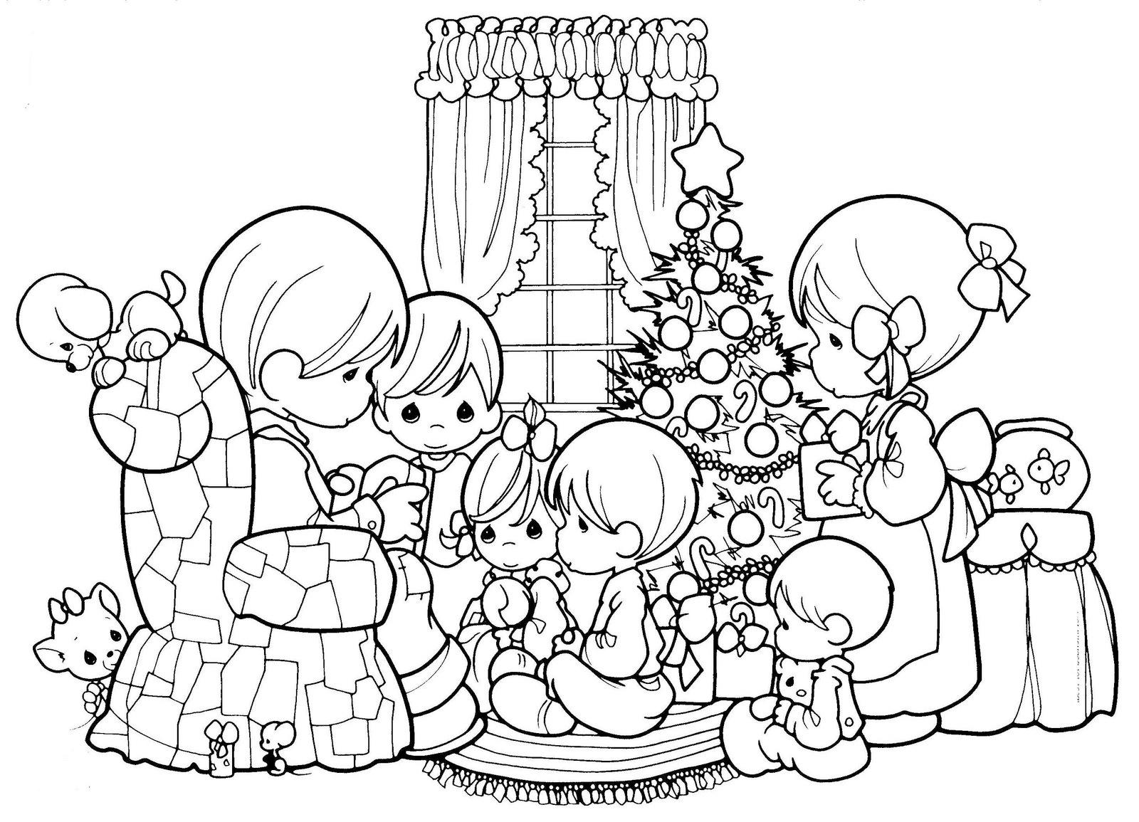 Cena De Familia Reunida No Natal Para Colorir
