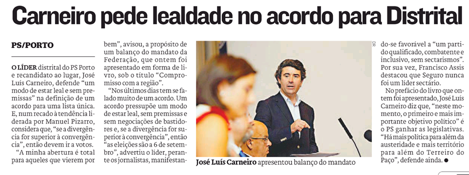 José Luís Carneiro eleições distrital PS Porto
