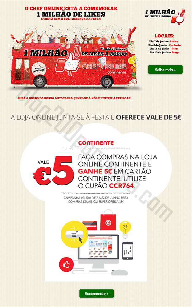Vale 5€ CONTINENTE online !!