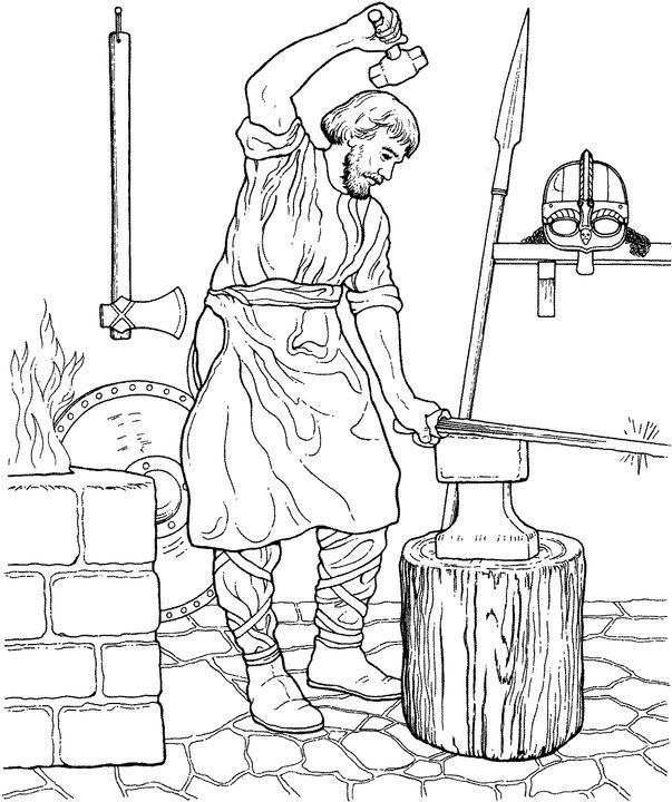 ferreiro a fazer espada para colorir desenhos da história para