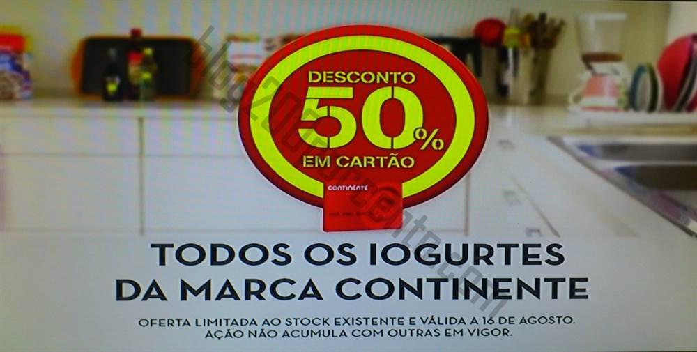 50% de desconto CONTINENTE apenas dia 16 agosto - Iogurtes CNT