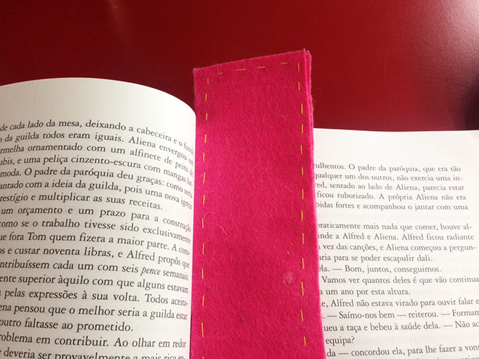 separador livros de feltro